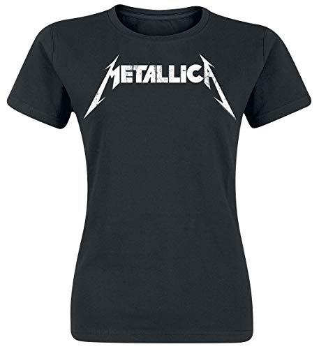 Metallica Textured Logo Mujer Camiseta Negro M, 100% algodón, Regular