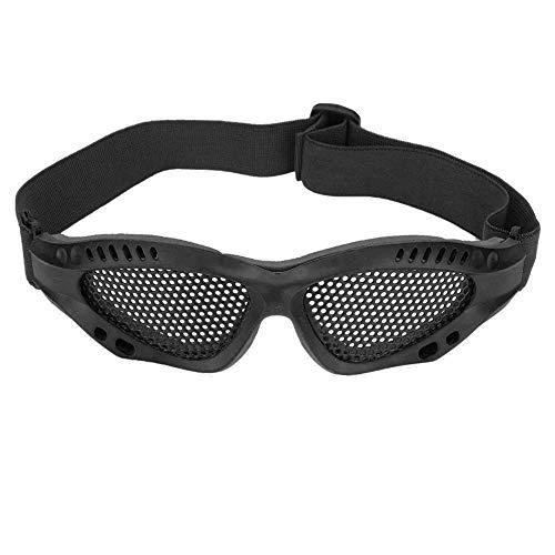 Alomejor 1 par de Gafas de Malla Airsoft Gafas de protección Ocular con Correa Ajustable para Disparos tácticos(Negro)