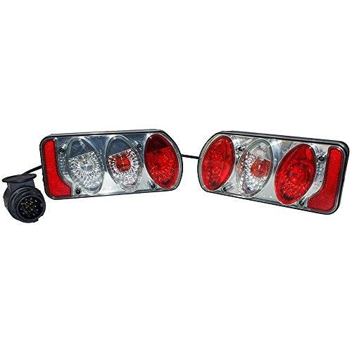 Eufab 11504 Rücklicht-Set mit Klarglas komplett mit Verkabelung und 13-poligem Stecker