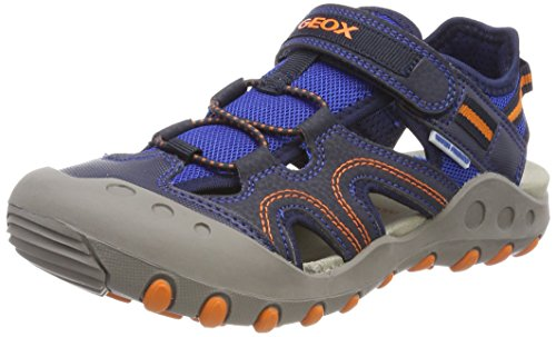 Geox Jungen JR Kyle A Geschlossene Sandalen, Blau (Navy/Orange), 28 EU