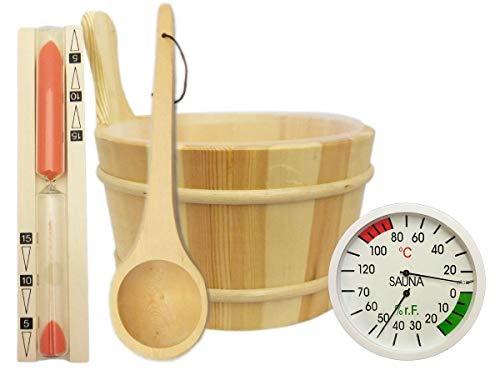 EB-Onlinehandel Sauna Zubehör Set 5-teilig - Saunakübel Saunakelle Sanduhr Thermohygrometer Saunazubehör