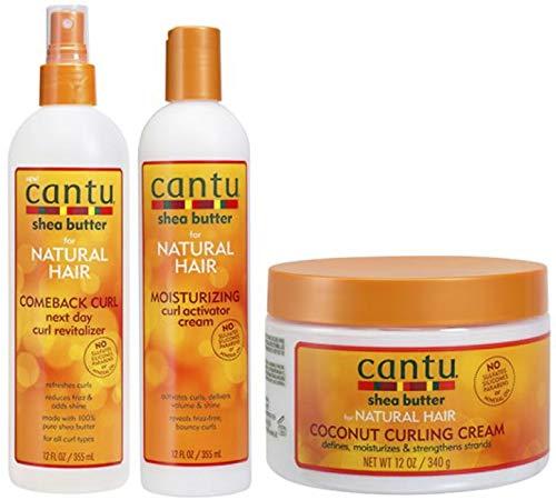 Cantu Shea Butter Regreso Curl Next Day Curl Revitalizer, Crema Activadora de Rizos y Crema de Coco (Juego de 3)