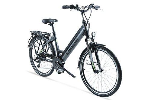 Bicicletta Elettrica con Pedalata Assistita Ammortizzata 26 \'\' - Kawasaki Trekking Lady Da 12 Anni in Su - Batteria Panasonic - Autonomia 50 Km