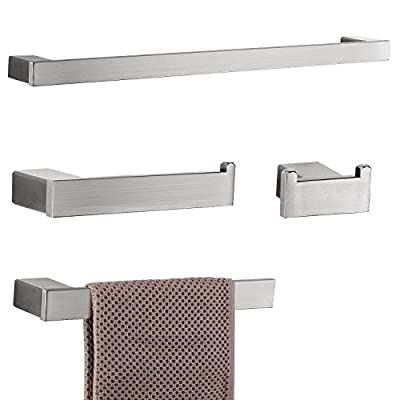 Qomolangma 4-Pieces Bathroom Hardware Accessories Wall Mounted Bathroom Hardware Set Towel Bar Towel Holder Hook Toilet Paper Holder, Premium Stainless Steel, 23.5 Inch,Brush Nickel
