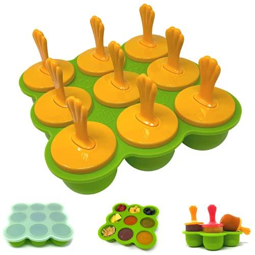 VanillaBunny Recipiente de silicona para almacenamiento de alimentos para bebé, Bandeja para congelador con tapa y clip, 9 porciones,...