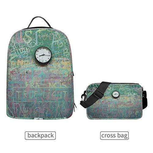 DEZIRO Klok Verf Art School Pack met Afneembare Cross Bag Rugzakken