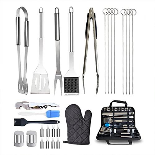 ShiftX4 Juego de espátulas de acero inoxidable de 27 piezas, con bolsa de almacenamiento portátil, accesorios de barbacoa, para camping, cocina, barbacoa, etc.
