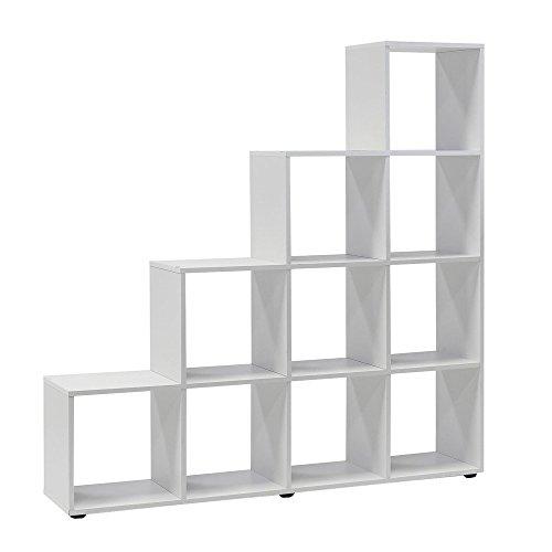WILMES 44410-75 0 75 Treppenregal mit 10 Fächern Dekor Melamin, 138,5 x 142,5 x 29 cm, weiß - 3