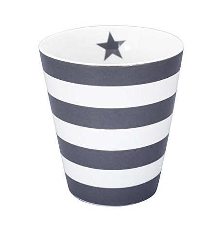 Krasilnikoff Kaffee Becher/Tasse/Mug - Stripes Charcoal/Dark Grey