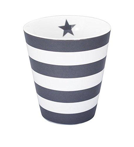 Krasilnikoff Kaffee Becher/Tasse/Mug - Stripes Charcoal/Dark Grey