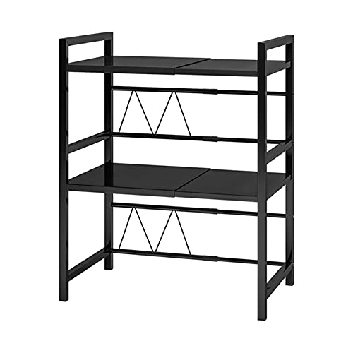 N/Z Home Equipment Organizer Shelving Microwave Oven Rack Expandable Horizontal Adjustable Microwave Shelf 3 Tier Kitchen Counter Shelf and Organizer (Color : Black Size : (40 64) x36.5x78cm)