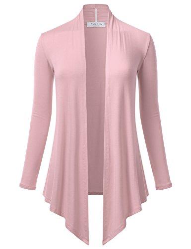 FLORIA Women's Open Front Drape Hem Lightweight Long Sleeve Knit Cardigan Dustypink S