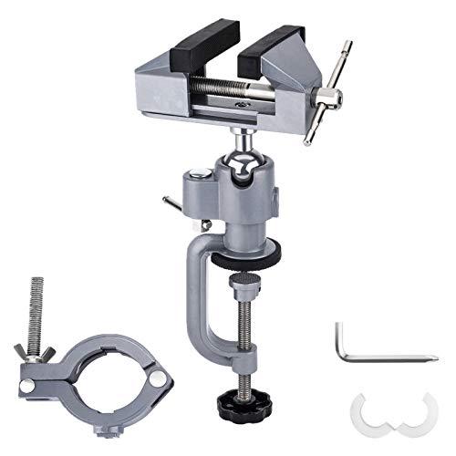 OCGIG Zweizweck Tisch Schraubstock mit 360 Grad drehbarer Schleifmaschinenhalterung Universal Klemmvorrichtung 0-50mm/38-41mm