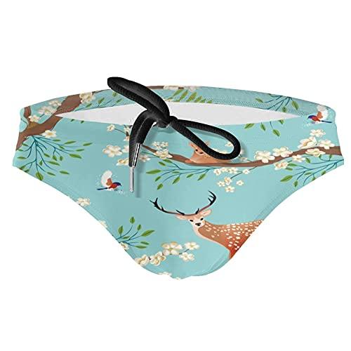 ZXZNC Traditional Japanese Blossom Sakura Retro Teal Blue Mens Swim Briefs Sexy Swimsuit Bikini Swimwear W/Drawstring Boys