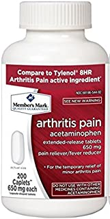Member's Mark 650mg Acetaminophen Extended Release Pain Reliever Fever Reducer Arthritis Pain Caplets (1 Bottle (200 caple...