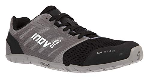 Inov-8 Womens Bare-XF 210 V2 - Barefoot Minimalist Cross Training Shoes - Zero Drop - Wide Toe Box - Versatile Shoe for Powerlifting & Gym - Calisthenics & Martial Arts - Grey/Black 10 W US