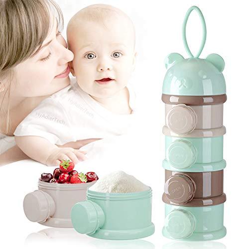 HyAdierTech Stapelbare Milchpulver Spender 4 Schicht, Milchpulver Portionierer Box Kann Tragbar Kinder, BPA-freien Luftdichte Lebensmittelvorratsbehälter für Reise im Freien (Grün)