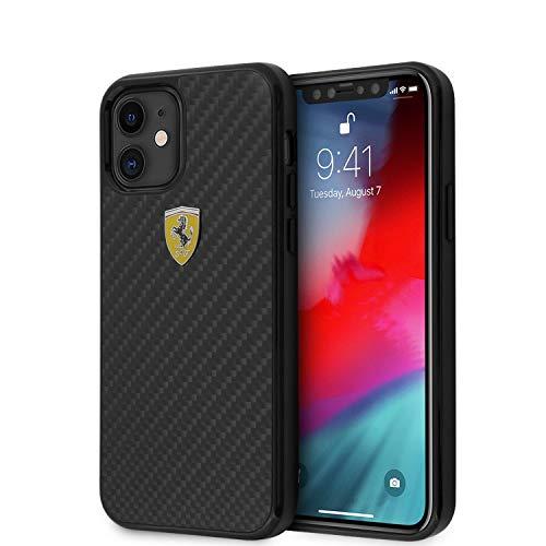 Ferrari Phone Case for iPhone 12 Mini Hard Case Real Carbon Fiber with On Track Metal Logo Black