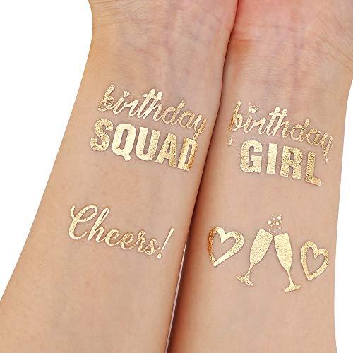 Birthday Tattoos(32Designs),Konsait Metallic Temporary Tattoos for Girls Kids Birthday Party Celebration Accessories-Birthday Girl,Birthday SQUAD,Cheers,Happy Birthday Party Bag Filler Favors Supplies