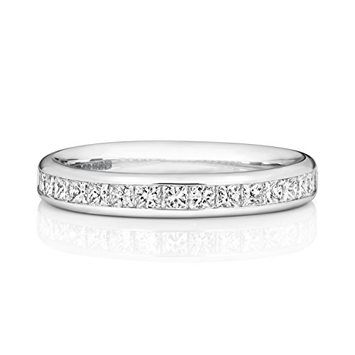 18ct White Gold 3.2mm Slight Court Comfort Half Eternity Diamond Wedding Band/Ring Princess Cut 0.74 Carat G - VS WJS1872818KW