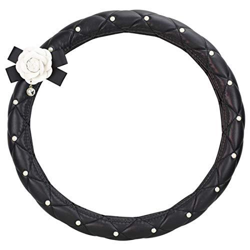 Calcifer Housse de volant de voiture universelle en cuir antidérapant de haute qualité avec perles blanches et roses blanches pour femme (Noir)
