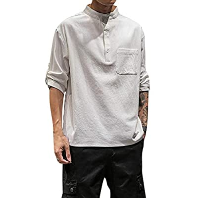 JustWin Men's Fashion Short Sleeve Top Men's Summer Pure Color Comfortable Pocket Button Blouse Top
