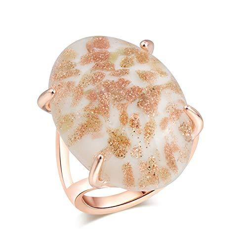 EzzySo Anillo de Piedras Preciosas de ágata Natural, atmósfera Estadounidense Personalidad Simple Anillo de aleación joyería (2 Piezas),E,10