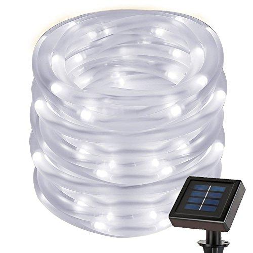 cuzile Manguera LED Solar 50 LED Resistente al Agua IP55 Tiras de LED de Exterior, Sensor de luz,...