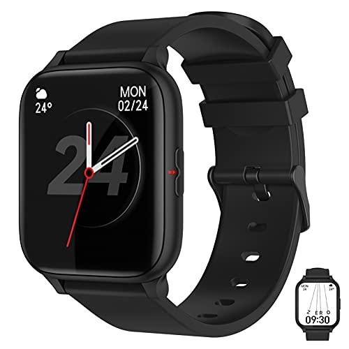 APCHY 2021 Nuevo Smartwatch Reloj Inteligente,Rastreador De Fitness con Oxígeno De Sangre, Presión Arterial, Ritmo Cardíaco Y Monitor De Fisiología Femenina, Rastreador De Actividades,Negro