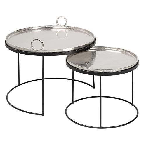 riess-ambiente.de 2er Set Couchtische Elements 62cm Silber mit Abnehmbarer Tischplatte Wohnzimmertisch Tisch Tischset
