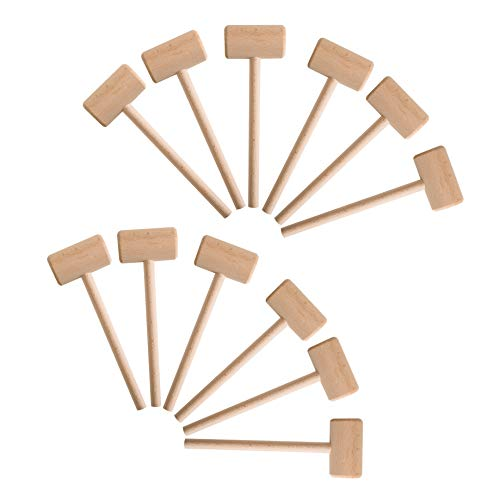 12 Pieces Wooden Crab Lobster Seafood Mallet Wooden Hammer for Chocolate, Solid Natural Hardwood