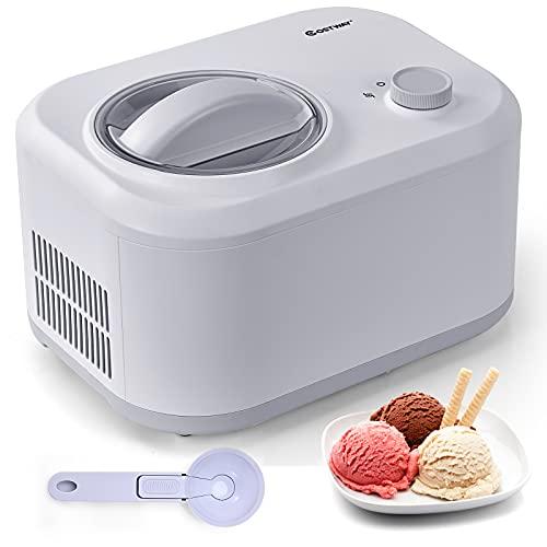 COSTWAY 1L Eiscrememaschine, 100W Eismaschine, Speiseeisbereiter 3 Modi, Yogurtbereiter Frozen Eiscreme-Bereiter mit eingebautem Kompressor, Löffel (Silberweiß)