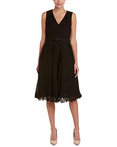 Eliza J womensEJ6M0877V Neck Eyelet Dress Sleeveless Dress - Black - 16