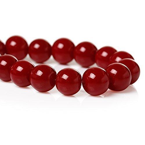 SiAura Perline di vetro da 8 mm, colore rosso scuro, circa 106 perle