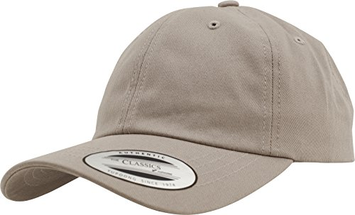 Yupoong Flexfit Low Profile Cotton Twill Unisex Dad Hat Cap für Damen und Herren, 6 Panel Baseball Cap unstructured mit Messingverschluss, khaki, One Size