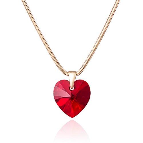LillyMarie Zilveren ketting voor dames, verguld zilver, 925 sterling zilver, met Swarovski Elements, hartje, rood, in lengte verstelbaar, sieradenetui, beste vriendin geschenken