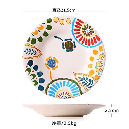 FNB Exotische handbemalte marokkanische Italien böhmische Art Teller 8,5 Zoll Bunte Salatteller Esszimmer Dekoration Teller, 7,8,5 Zoll