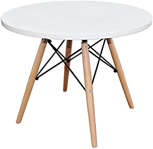 HomeCraft Eames Style Kids Dining Play Table - Dowel DSW Leg, Circular White Top
