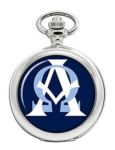 Alpha Omega Cerrado Cristiano Reloj Bolsillo Hunter Completo