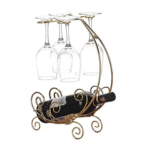Estante para Botellas de Vino, 1 Botellas de Vino y 4 Vasos Metal Estante de Exhibición Independiente Botellero de Mesa Comedor Bar Decoración del Hogar Cocina