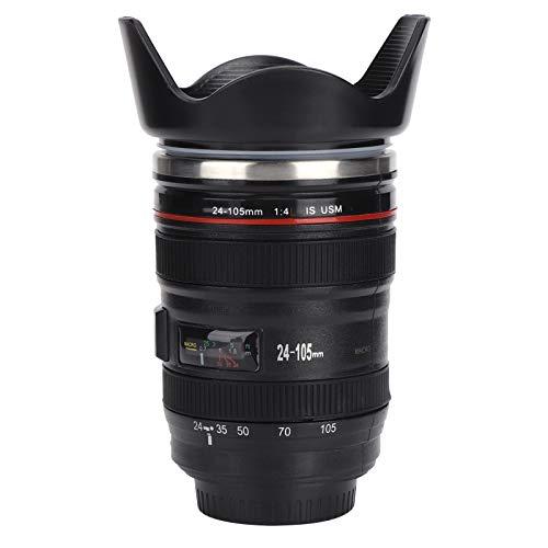 SunshineFace Kaffeetasse mit Kameraobjektiv, Edelstahl, mit einziehbarem Deckel, Geschenk für Fotografen