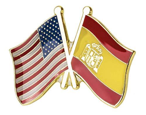 Pin de Solapa Bandera de Estados Unidos y Bandera de España   Pines Originales Para Regalar   Para las Camisas, la Ropa o para tu Mochila   Detalles Divertidos