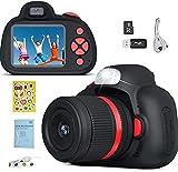 YunLone Cámara SLR para niños, cámara Digital de 28MP, Video de Alta definición de 1080P, cámara para Selfies para niños, con Tarjeta Micro SD de 32GB, Pantalla de 2.4 Pulgadas, Negro