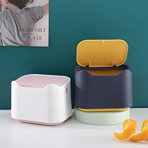Creative Household Living Room Desktop Trash Can Plastic Mini Trash Can Office Small Trash Can Coffee Table Paper BasketMini Cover Trash Can, Makeup Holder Vanity Kitchen Car Desktop Office