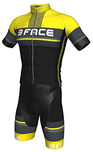 Threeface Completo Estivo Ciclismo Deal Maglia + Salopette Bici MTB (L, Giallo Fluo)