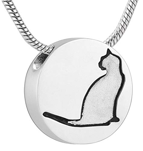 N / D Collar De Cremación Colgante de Recuerdo con patrón de Gato de cremación de Acero Inoxidable para Cenizas, Vendedor de urnas, Collar conmemorativo para Mascotas, joyería