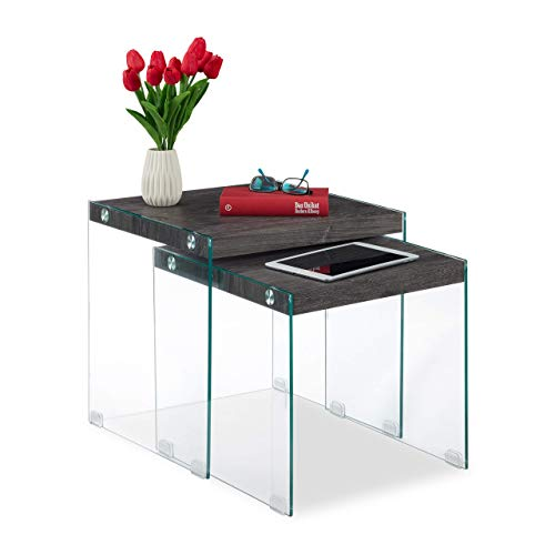 Relaxdays Satztische, 2er Set, Massive Ablage, edles Glasgestell, Wohnzimmer, eckige Couchtische, 40&45 cm hoch, schwarz, MDF, 45 x 45 x 45 cm