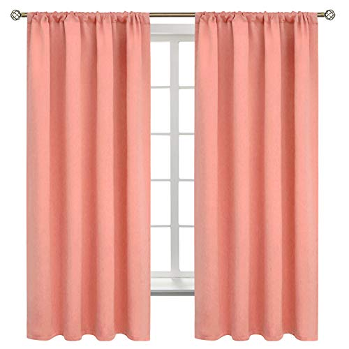 BGment Rod Pocket Blackout Curtains for Bedroom - Thermal Insulated Room Darkening Curtain for Living Room , 52 x 63 Inch, 2 Panels, Coral