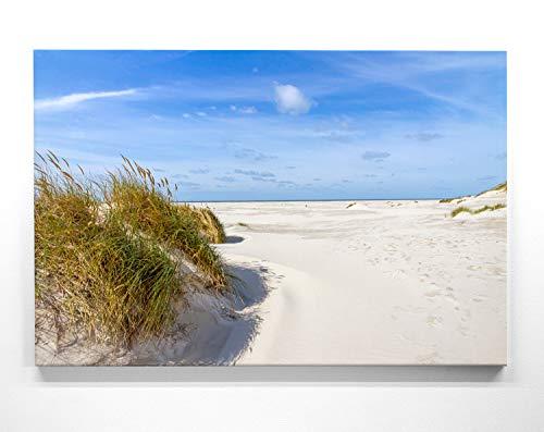 Atemberaubende Nordsee Bilder als XXL Leinwand-Wandbild 200cm x 150cm, Motiv Dünen & Meer, Amrum. EIN Panorama-Bild für Wohnzimmer, Schlafzimmer. Fertig aufgespannt auf 4cm Holz-Keilrahmen