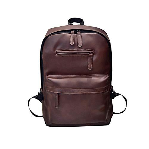 Fashion Backpack Women Men Neutral Leather Backpack Laptop Satchel Travel School Rucksack Bag mochilas Mujer plecak,Brown